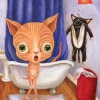 "Funny Bathroom Art Print, Nude Sphynx Cat Whimsical Modern Illustration - ""Tubby Time"" Mat and size options available"