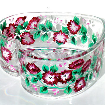 Hand Painted Red Flowered Heart Shaped Bowl