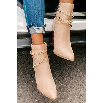 IMPERFECT Nashville Nights Faux Suede Studded Booties (Nude)