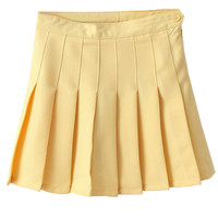 Yellow Pleated Mini Skirt - Choies.com