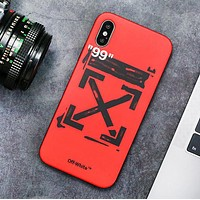 Off White Fashion New Letter Arrow Print Women Men Phone Case Protective Cover Red