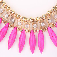 Pink High Polish Metal Rhinestone Accent Dangle Stone Necklace