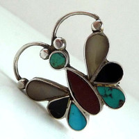 Vintage Zuni Butterfly Ring - Native American Indian