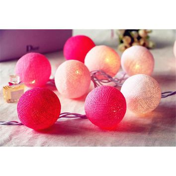 Hot 20 LEDS Lovely Pink Color Scheme Cotton Balls With LED Light String Light Fairy For Wedding Festival Party Home Decor