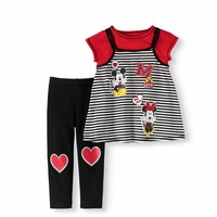 Toddler Girl Short Sleeve 2Fer Tunic & Leggings 2Pc Outfit Set