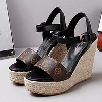 Louis Vuitton LV Trending Women Stylish Princess High Heels-Heeled Shoes Sandals Coffee