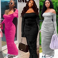 2020 new women's sexy wrapped chest one shoulder back strap bow pleated flared sleeve dress