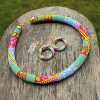 Rainbow hoop earrings, Multicolor beaded rope earrings, Gold color detail, Rainbow mood, Gift for her