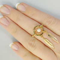 Gold Dream Catcher Ring with Feathers and White Turquoise