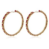 Large Goldtone 4.5 Inch Cuban Link Hoops with Red Braided Fabric Earrings