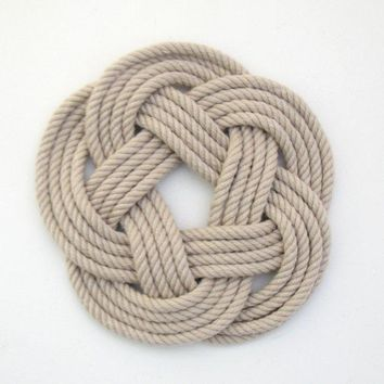 Sailor Knot Coasters, woven in Tan , Set of 4