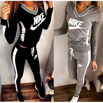 Nike Fashion Popular Sweatshirt Gym Top Sweater Pants Sweatpants Set Two-Piece Sportswear I