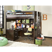 American Woodcrafters Smart Solutions Full Single Bunk Bed With Bookcase And Desk