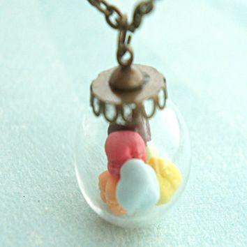 french macaron hearts necklace