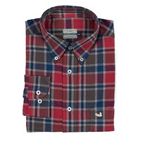 Ocoee Washed Plaid Dress Shirt in Navy and Green by Southern Marsh