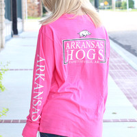 Arkansas Razorback Long Sleeve Logo Pocket Tee {Neon Pink}
