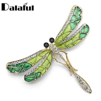 Unique Cute Dragonfly Brooch Pin Enamel Crystal Rhinestone Lovely Jewelry For Women Gift Brooches