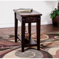 Sunny Designs 3160DC-CS Santa Fe Chair Side Table In Dark Chocolate
