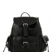 Vita White Real Leather Backpack