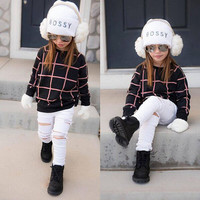 2PCS Toddler Kids Baby Girls Clothes Set Outfits Tops Plaid Cut Fashion White Pants Clothing Set