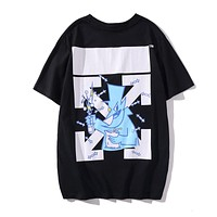 Off White New fashion letter arrow print couple top t-shirt Black