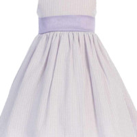 Lilac Cotton Seersucker Dress w. Polysilk Sash 6m to Girls 12