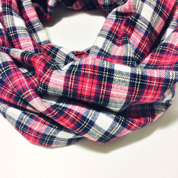White and Red Flannel Infinity Scarf- Plaid Winter Scarf