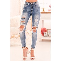 Never In A Million Years Distressed Skinny Jeans (Medium)