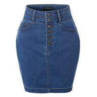 High Waist Exposed Button Fly Denim Skirt (CLEARANCE)
