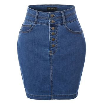 Casual High Waist Exposed Button Fly Denim Jean Pencil Skirt