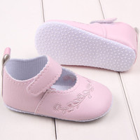 0-1 Years Baby Girl Pu Leather Princess Crib Shoes Newborn Comfy Outdoor Baby Shoes Y8