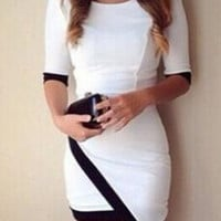 White 3/4 Sleeves Bodycon Mini Dress