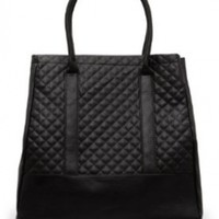 Mango Women's Quilted Tote Bag, Black, U