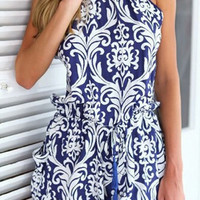 Blue Round Neck Backless Printed Romper