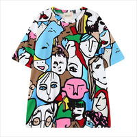 Multicolor Abstract Man Print T-Shirt