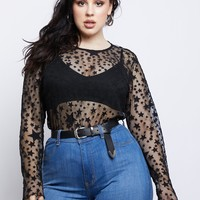 Plus Size Star Gazing Mesh Top