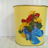 Vintage DecoWare Yellow Enamel & Flowers Litho Metal Waste Can - Retro Roses Bouquet Boudoir Bin - Shabby Chic Florals on Soft Yellow Paint