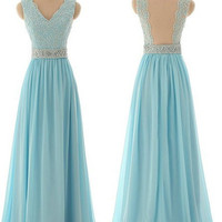 Light Blue Sleeveless V-Neck Prom Dresses