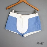 1950's Blue & White Men's Vintage SwimSuit Bathing Suit - M MEN'S VINTAGE CLOTHING: bathing suits, swim suits :