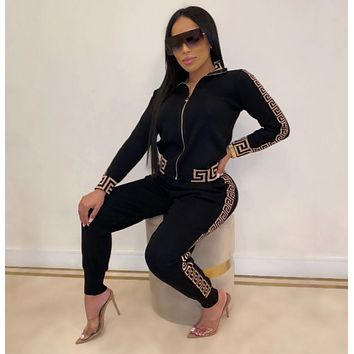 New Popular Women Casual Round Collar Top Pants Set Two-Piece Black