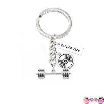 Barbell Girl On Fire Pendant Keychain