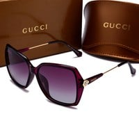 GUCCI Popular Ladies Men Casual Sun Shades Eyeglasses Glasses Sunglasses Purple