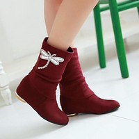 Faux Suede Rhinestone Ankle Boots Low Heels Women Shoes 3225