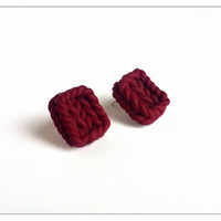 Maroon Knitted Stud Earrings, Polymer Clay Jewelry, Maroon Jewelry, Knitted Jewelry, December Gifts, Christmas Sale, Gifts For Sister