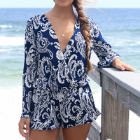 Royal Caribbean Blue Paisley Long Sleeve Romper
