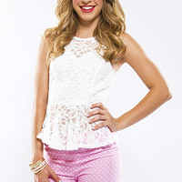 Freshed Lace Peplum Top