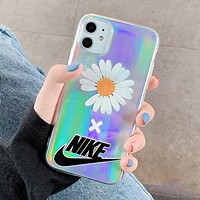 NIKE Fashionable Women Men Little Daisy Print Transparent Laser Cards iPhone Phone Cover Case For 7 7plus 8 8plus iPhone 11 iPhone X XR XS XS MAX PRO MAX