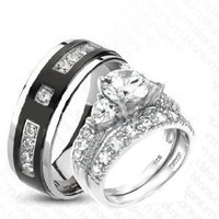 3 Pieces His & Hers Heart, 925 STERLING SILVER Rhodium Plated & TITANIUM Matching Engagement Wedding Bridal Ring Set. (Size Men's 11 Women's 6)
