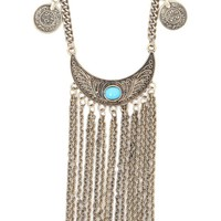 With Love From CA Coin And Fringe Boho Necklace - Womens Jewelry - Antique Gold - One