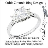 Cubic Zirconia Engagement Ring- The Henrietta (Emerald Cut 3-stone with Matching Trapezoid Cut Accents)